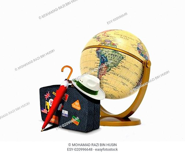 Travel Suitcase with Hat and Globe