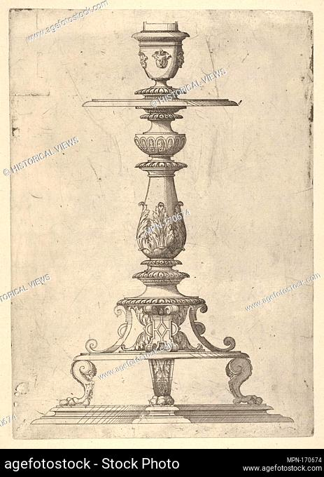 Design for a Candlestick. Artist: Jacques Androuet Du Cerceau (French, Paris 1510/12-1585 Annecy); Date: 1548-49; Medium: Etching; Dimensions: Plate: 11 5/8 x 8...