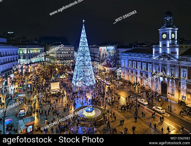 View of the Puerta del Sol in Madrid with the Christmas tree