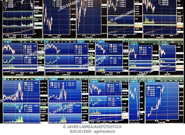 Computer screens. stock market. charts