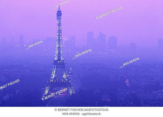 View from the Montparnasse tower, Eiffel tower, La Défense, Paris. France