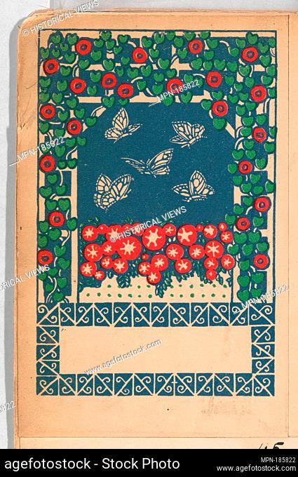 Butterflies (Schmatterlingen). Artist: Gustav Kalhammer (Austrian, Vienna 1886-1919/20 (?) Vienna); Publisher: Published by Wiener Werkstätte; Date: 1907;...