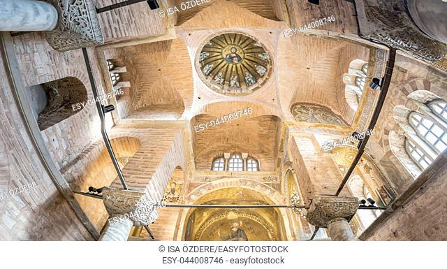 Interior panoramic view of central dome of the Pammakaristos Church depicting Jesus Pantocrator and apostles at Fethiye Camii in Carsamba vicinity of Fatih...