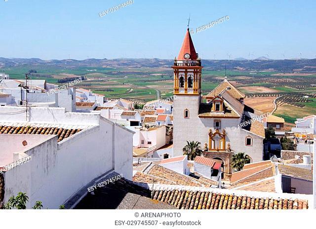 Holy Cross Church (Santisima Cruz) and surrounding countryside, Teba, Malaga Province, Andalucia, Spain, Western Europe