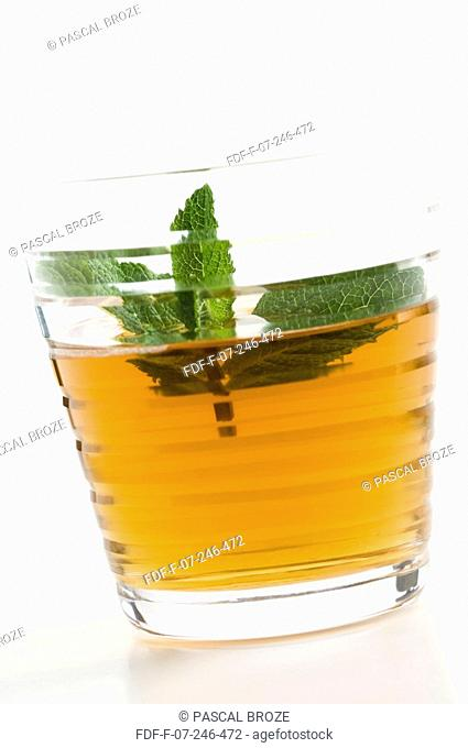 Close-up of a glass of herbal tea