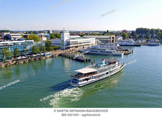 Media house and Zeppelin Museum at the harbour, Friedrichshafen, Lake Constance, view from Moleturm, Upper Swabia, Bodensee Region, Baden-Württemberg, Germany