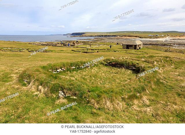 Birsay, Orkney Mainland, Scotland, UK, Great Britain, Europe  Remains of Norse house in a settlement excavated on the Brough of Birsay