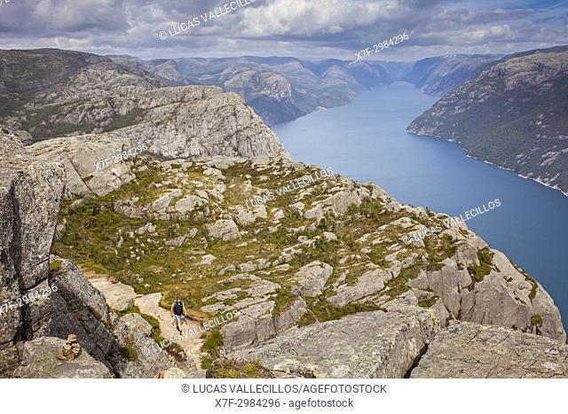 Trek to Preikestolen, near Preikestolen, Pulpit Rock, 600 meters over LyseFjord, Lyse Fjord, in Ryfylke district, Rogaland Region