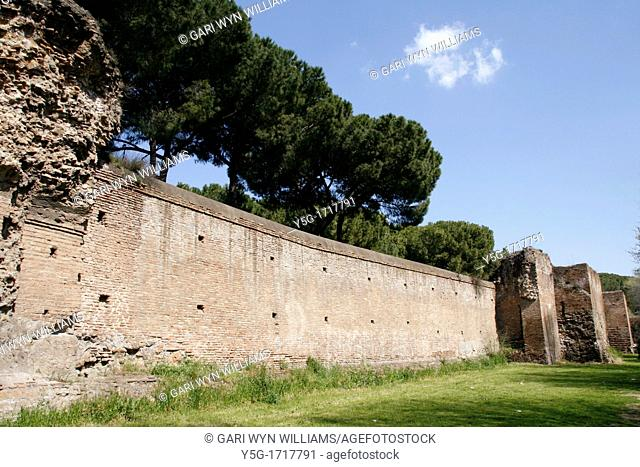 auerlian defence wall in the ostiense area in rome italy