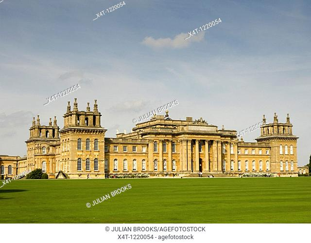 The South facade of Blenheim Palace in autumn sunshine  Blue sky