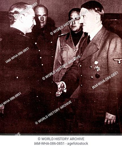 Photograph of a Adolf Hitler (1889-1945) German politician who was the leader of the Nazi Party, Chancellor of Germany and Führer of Nazi Germany