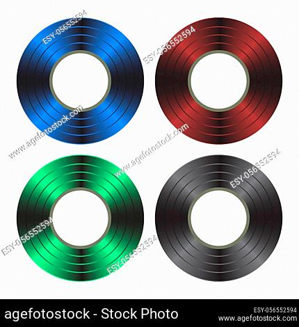 Colored Scotch Tape Set Isolated on White Background. Insulating Roll