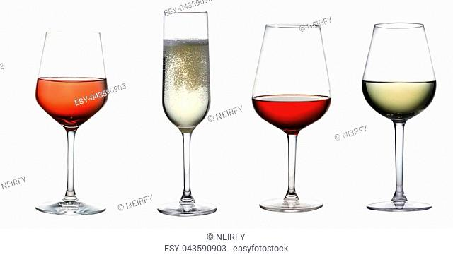 High glass with still white wine, sparkling wine and red and rose wine isolated on white background
