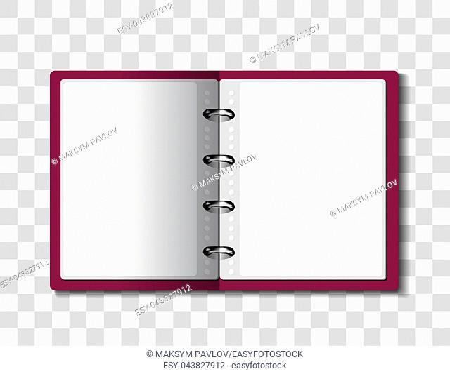 Red ring binder folder on checkered background. Vector illustration