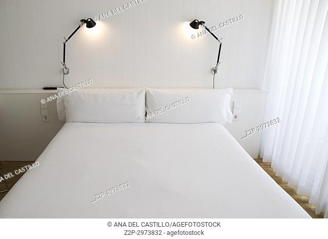 Bed room interior in white, minimal deco
