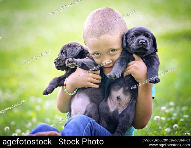Young Boy Holding Two Lab Puppies