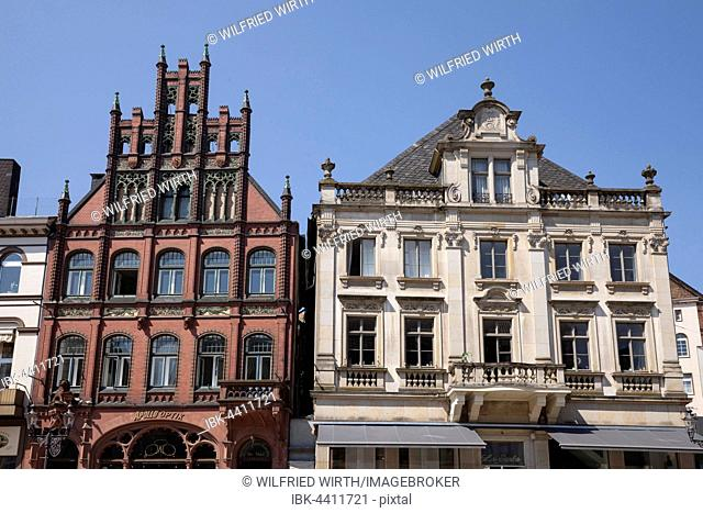 Historic houses on market square, Minden, North Rhine-Westphalia, Germany