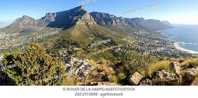 Table Mountain and 12 Apostles viewed from Lion's Head. Cape Town. Western Cape. South Africa