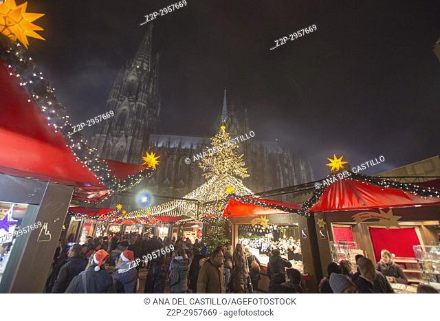 The larger Christmas markets are held in downtown. The booths near the cathedral are arranged around a huge Christmas tree, Cologne Germany