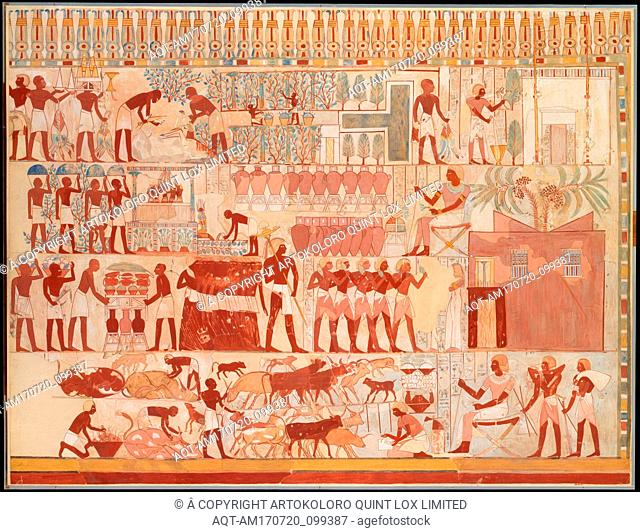 Nebamun Supervising Estate Activities, Tomb of Nebamun, New Kingdom, Dynasty 18, ca. A.D. 1928; original ca. 1400–1352 B.C