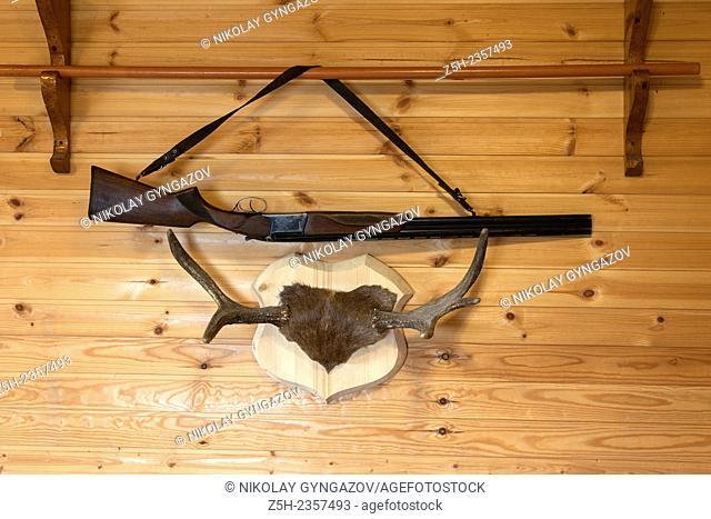 Interior trophy hunting elk antlers and a gun