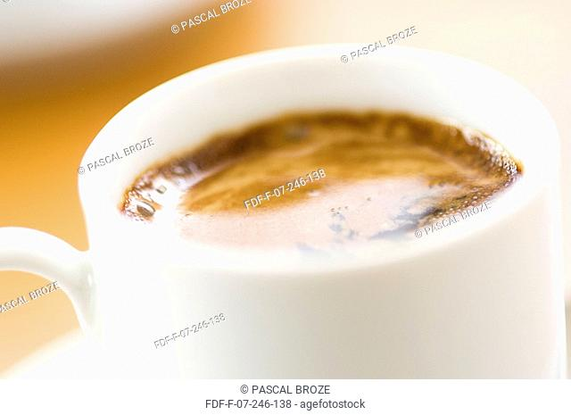 Close-up of a cup of espresso coffee