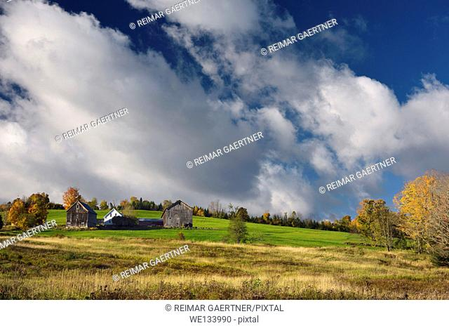Farmhouse and barns at sunrise on hillside West Burnet Vermont in the Fall