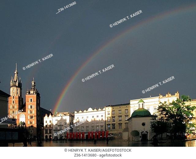 Rainbow over Mary the Virgin Basilica at Main Market Square, Krakow, Poland, Europe