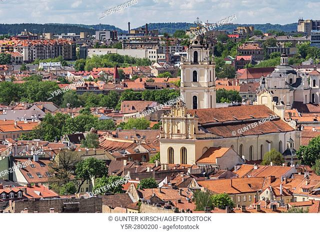 View of the old town of Vilnius and the bell tower of the church of St. John. The tower of the Church of St. John is 68 meters high