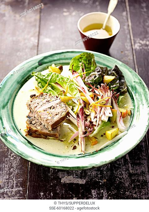 Beef,pork fillet ,hazelnut and Calvados terrine,sauteed apples with mixed salad