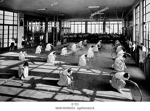 essay by gymnastics in the gym of the villa Rosa Maltoni Mussolini, calambrone 1930-40