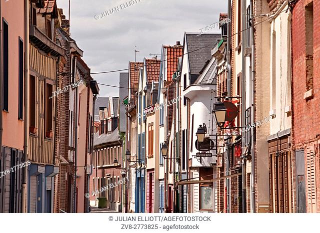 Colorful houses in the Saint Leu district of Amiens