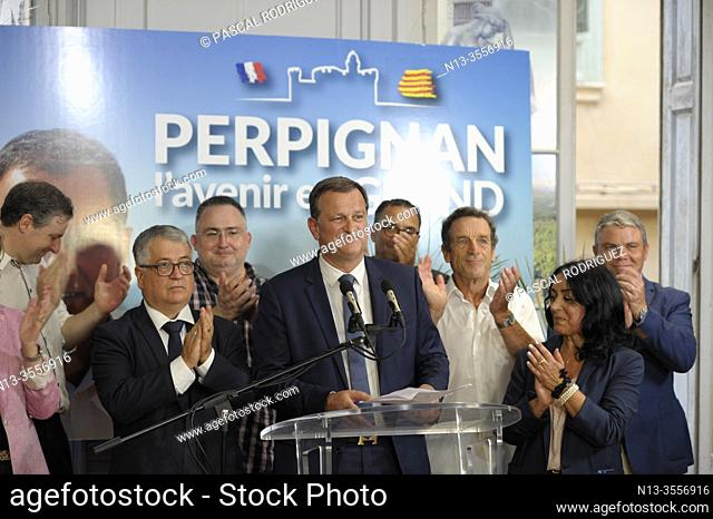 French municipals elections in PERPIGNAN south of France, second ballot between the ougoing mayor Jean-Marc PUJOL (LesREPUBLICAINS) right and Louis ALIOT...
