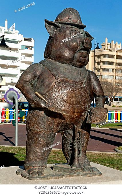 Statue of The Three Little Pigs, Fantasy Park, Fuengirola, Malaga province, Region of Andalusia, Spain, Europe