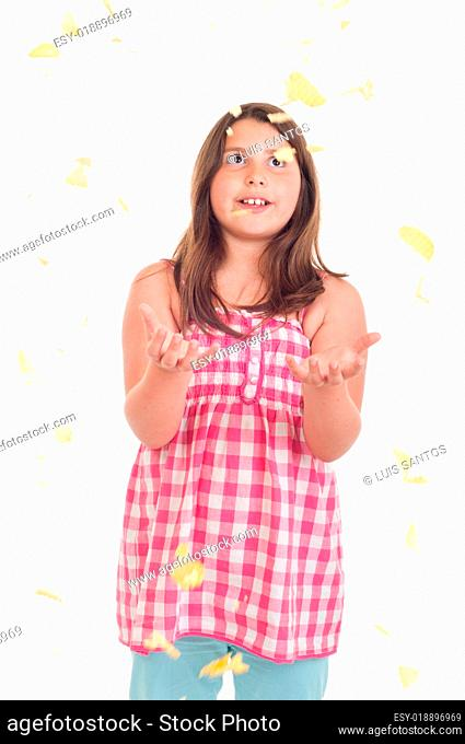 Girl with falling chips
