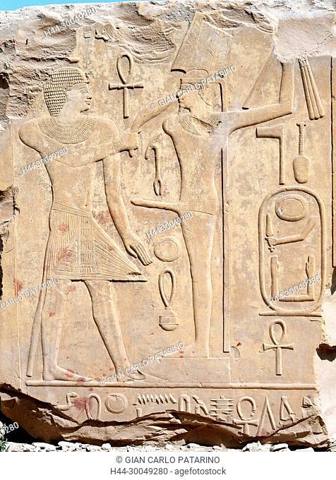 Karnak, Luxor, Egypt. Temple of Karnak sacred to god Amon: beautiful hieroglyphs of king Sesostris I (Kheperkara I - XII° Dyn. 1991-1783 b.C.)