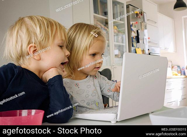 Little girl using laptop at home while her older brother watching her