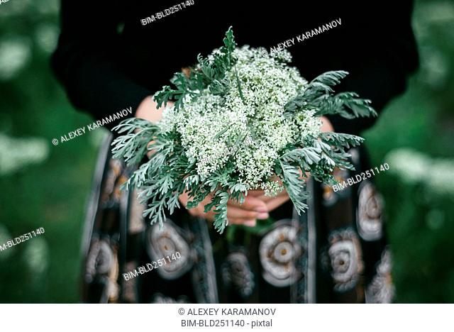 Hands of Caucasian woman holding wildflowers