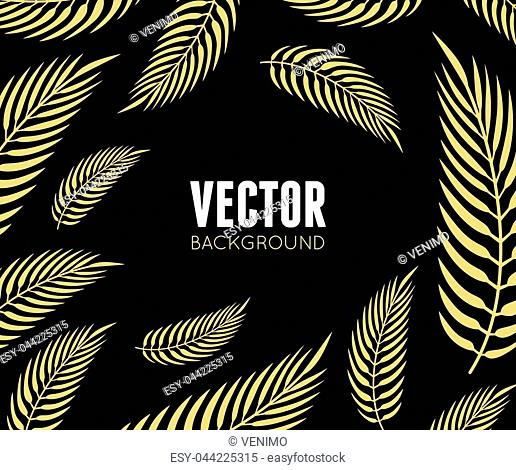 Vector backdrop in flat minimal style with tropical leaves - abstract background for banner, header or cover with copy space for text or emblem