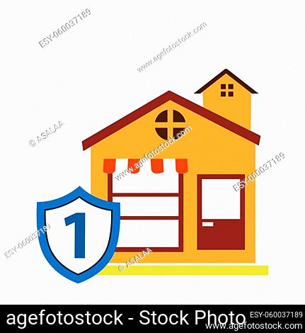 Shop protection stock icon, flat design. Vector illustration on white background
