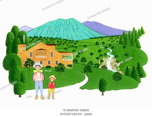 Illustration of Man and Boy Hiking in Countryside