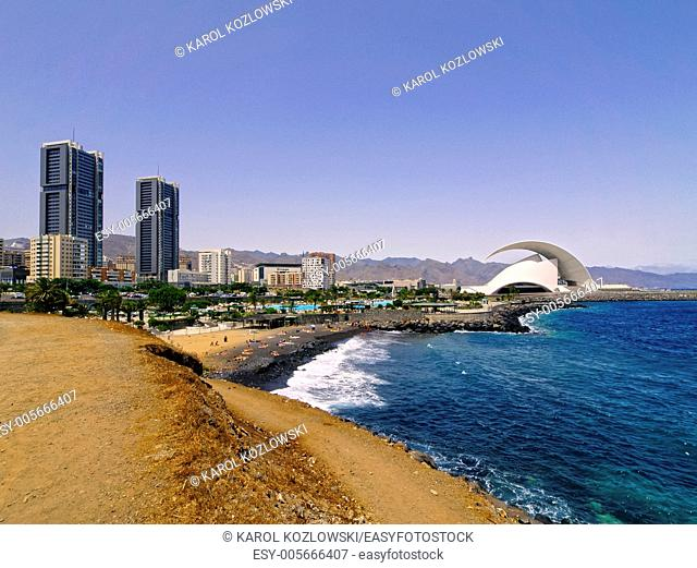 Cityscape of capital city on Tenerife - Santa Cruz, Canary Islands, Spain