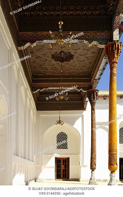 Bukhara, Uzbekistan - August 28, 2016: Interiors of Memorial complex of Khoja Bakhouddin Naqshbandi, a most important pilgrimage place for Islam