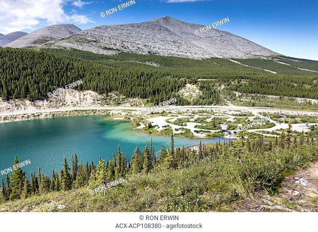Summit Lake, the Alaska Highway, and the campground in Stone Mountain Provincial Park, British Columbia, Canada