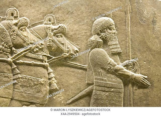 Lion Hunting - Detail of Alabaster Bas-Relief depicting King Ashurbanipal and his Horses, Circa 645-635 BCE, British Museum, London