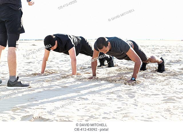 Men doing push-ups on sunny beach