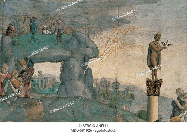Martyrdom and Episodes of the Life of Saints Valerian and Tiburtius, by Aspertini Amico, 16th Century, fresco. Italy, Emilia Romagna, Bologna