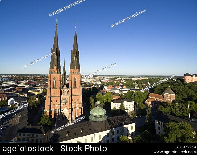 Uppsala Cathedral with Gustavianum in the foreground. To the right Helga Trinity Church and the castle. Sweden