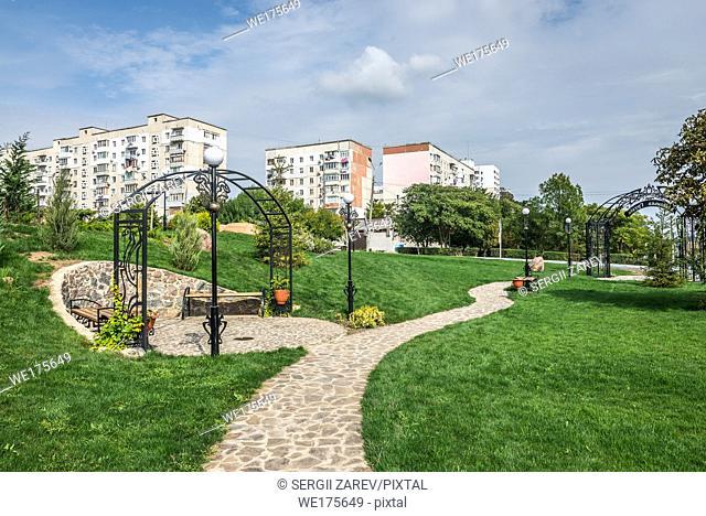 Georgian square in Yuzhny, port city in Odessa province of Ukraine on the country's Black Sea coast