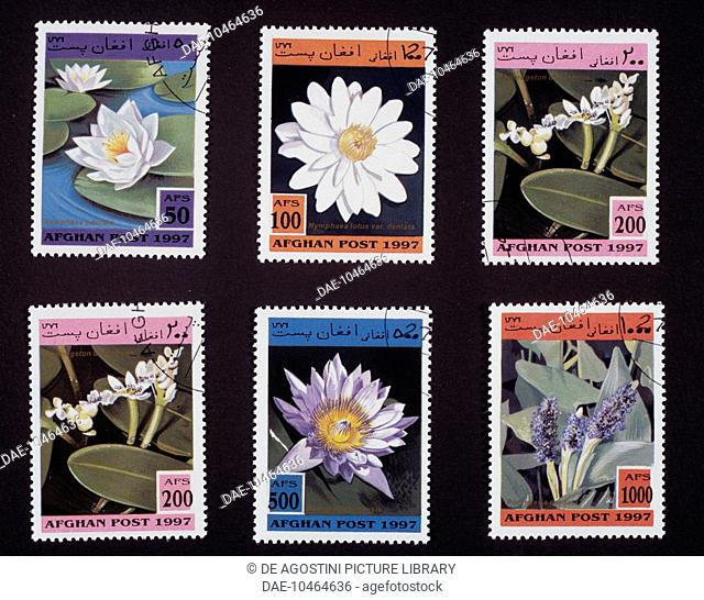 Postage stamps from the series honouring water flowers, 1997, depicting, from left to right and from top to bottom: Fragrant water lily (Nymphaea odorata)